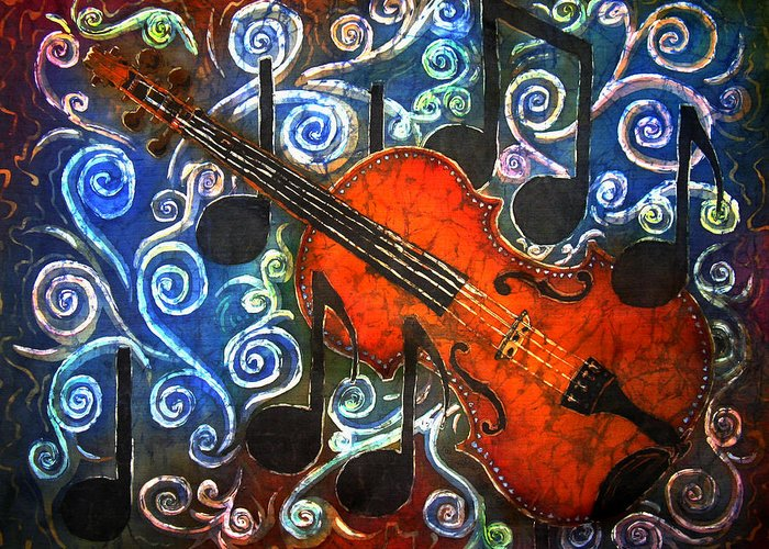 Fiddle Greeting Card featuring the painting Fiddle - Violin by Sue Duda
