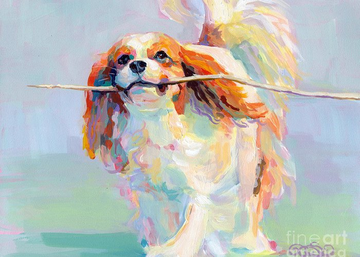 Cavalier King Charles Spaniel Greeting Card featuring the painting Fiddlesticks by Kimberly Santini