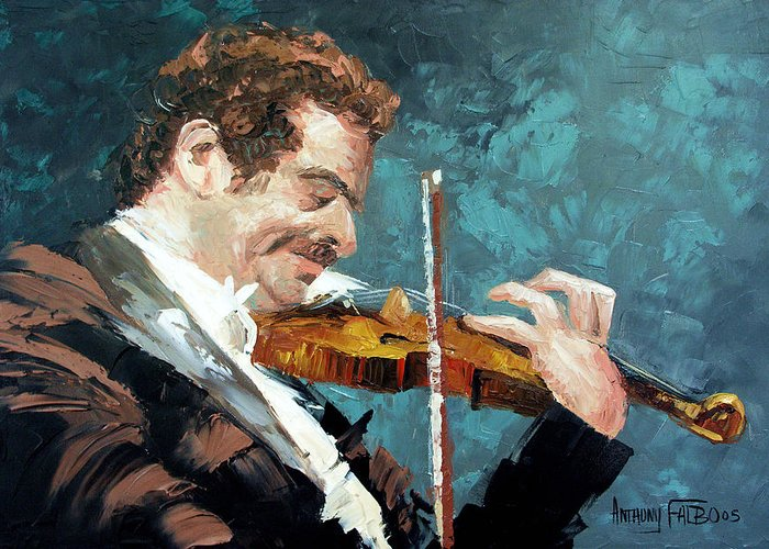 Fiddling Around Framed Prints Greeting Card featuring the painting Fiddling Around by Anthony Falbo