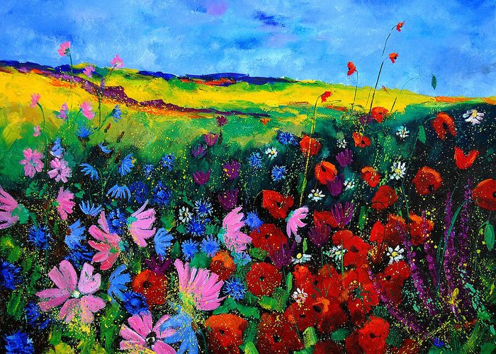 Poppies Greeting Card featuring the painting Field Flowers by Pol Ledent