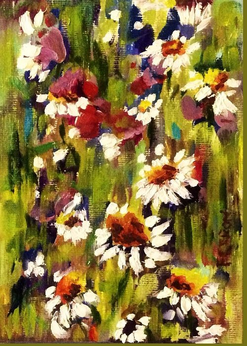 Daisy Greeting Card featuring the painting Field Of Daisies by Patti Ferron