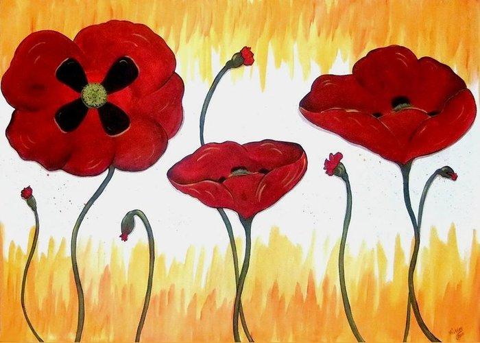 Poppy Greeting Card featuring the painting Field Of Fire by Cindy Micklos