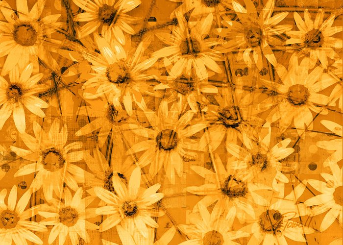 Daisies Greeting Card featuring the digital art Field Of Gold by Ann Powell