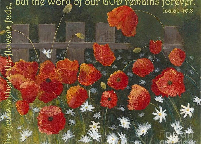 Poppies Greeting Card featuring the painting Field Of Poppies With Scripture by Mona Elliott