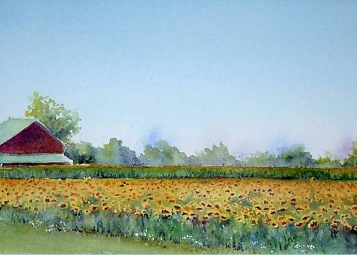 Landscape Greeting Card featuring the painting Field Of Sunshine by Patricia Henderson