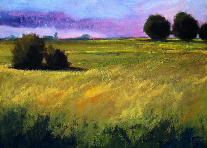 Oregon Greeting Card featuring the painting Field Textures by Nancy Merkle