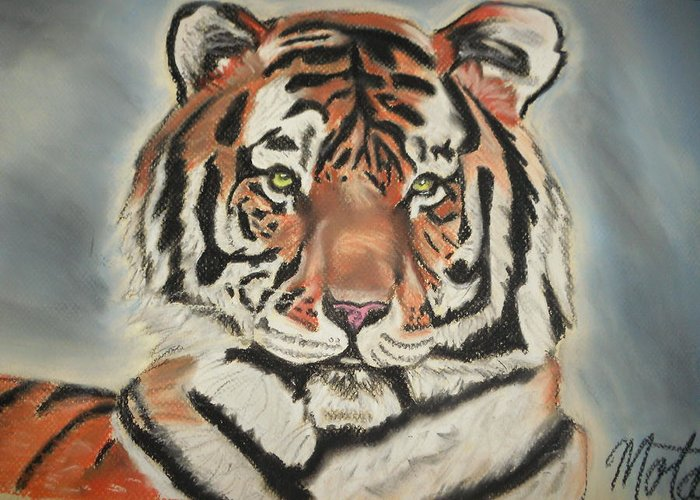 Tiger Greeting Card featuring the pastel Fierce by Kathy Mota