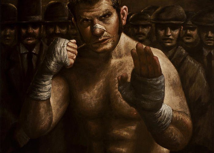 Fight Greeting Card featuring the painting Fight by Mark Zelmer