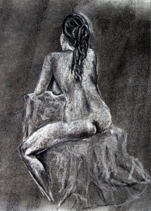 Nude Greeting Card featuring the drawing Figure Drawing 2 by Corina Bishop