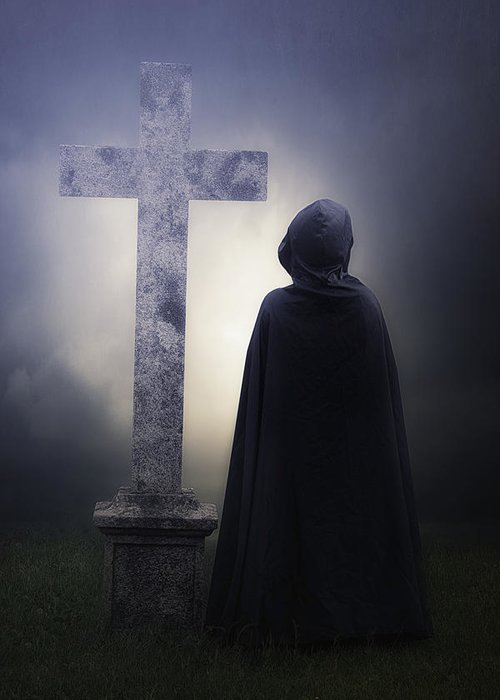 Figure Greeting Card featuring the photograph Figure On Graveyard by Joana Kruse