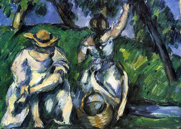 Greeting Card featuring the painting Figures By Cezanne by John Peter