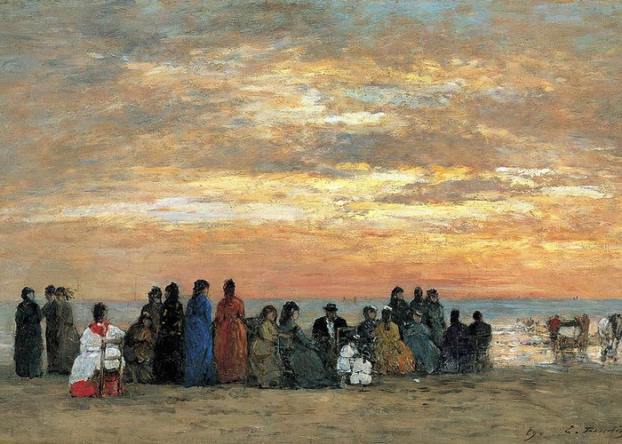 Eugene Boudin Greeting Card featuring the painting Figures On The Beach In Trouville by Eugene Boudin