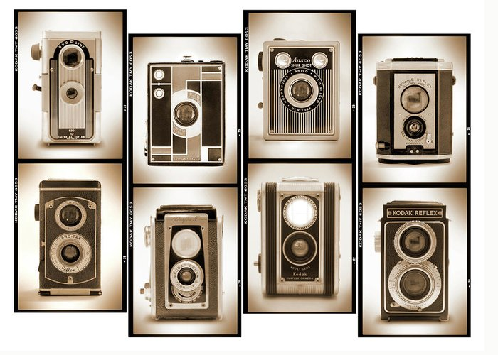 Vintage Cameras Greeting Card featuring the photograph Film Camera Proofs 4 by Mike McGlothlen