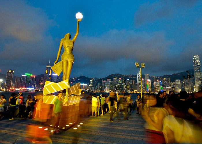 Hong Kong Greeting Card featuring the photograph Film Statue At Avenue Of Stars by Hisao Mogi
