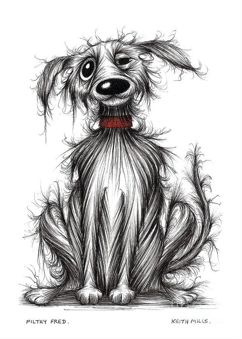Filthy Dog Greeting Card featuring the drawing Filthy Fred by Keith Mills