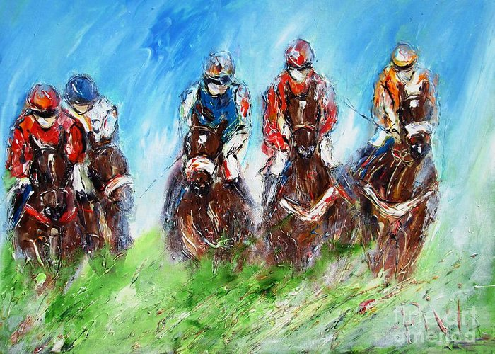 Horse Racing Greeting Card featuring the painting Final Fence Painting by Mary Cahalan Lee- aka PIXI