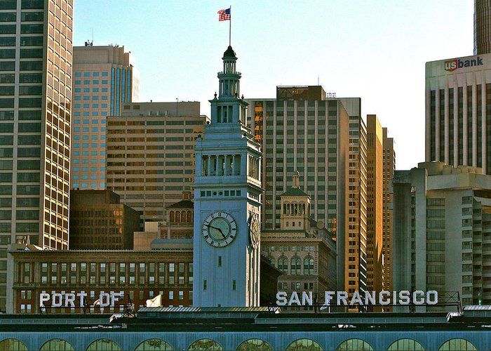 San Francisco Greeting Card featuring the photograph Financial District Lower Market Street San Francisco by DUG Harpster