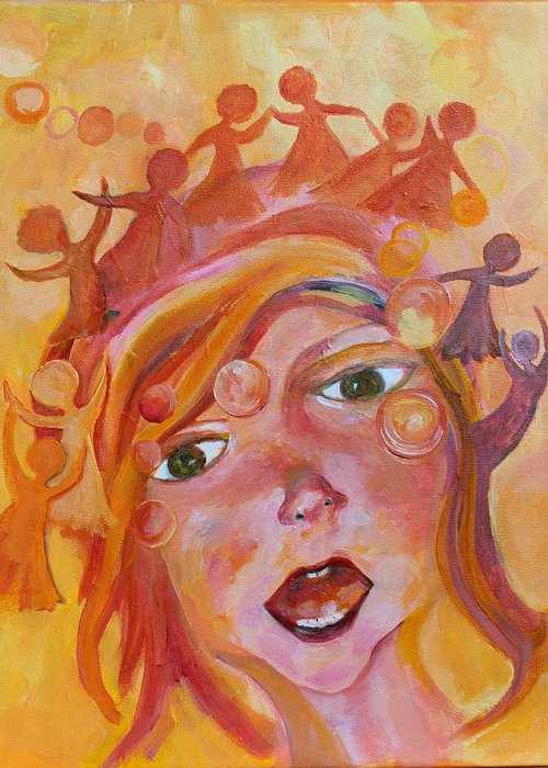 Child Imagining Greeting Card featuring the painting Finding A Voice by Naomi Gerrard