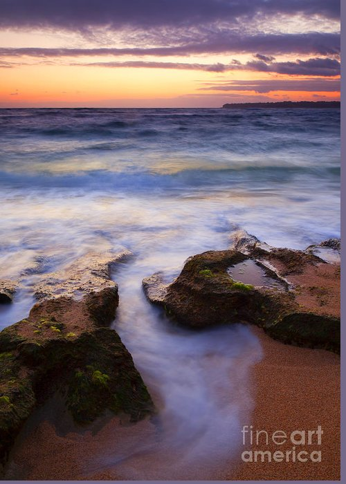 Lumahai Greeting Card featuring the photograph Finding The Cracks by Mike Dawson