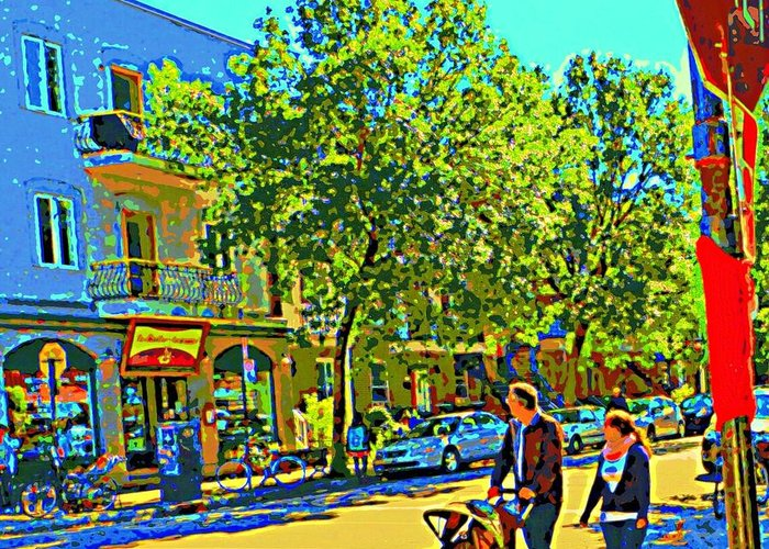 Montreal Greeting Card featuring the painting Fine Day For Baby Strollers And Bikes Art Of Montreal Street Scene Across Maitre Gourmet Cafe by Carole Spandau