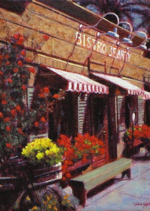 Wine Greeting Card featuring the painting Fine Wine For Launch Italian Restraunt Bistro Jeanty by Takayuki Harada