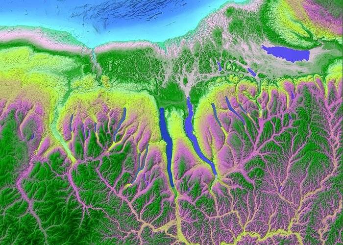 Finger Lakes Greeting Card featuring the digital art Finger Lakes Map Art by Paul Hein