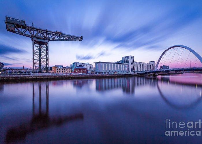 Glasgow Scene Greeting Card featuring the photograph Finnieston Crane And Glasgow Arc by John Farnan