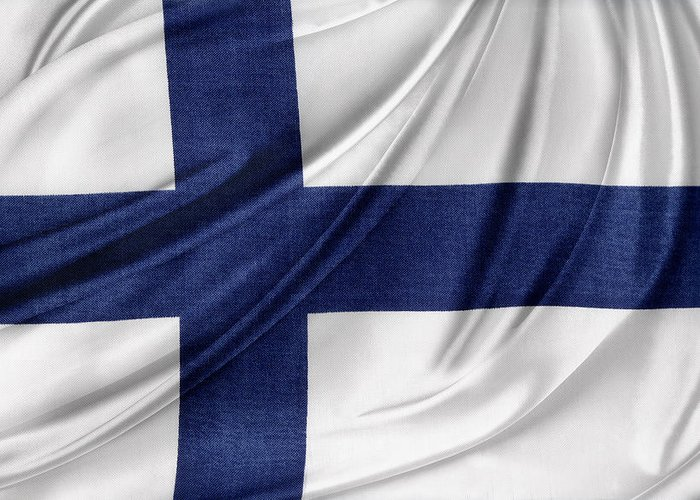 Color Greeting Card featuring the photograph Finnish Flag by Les Cunliffe