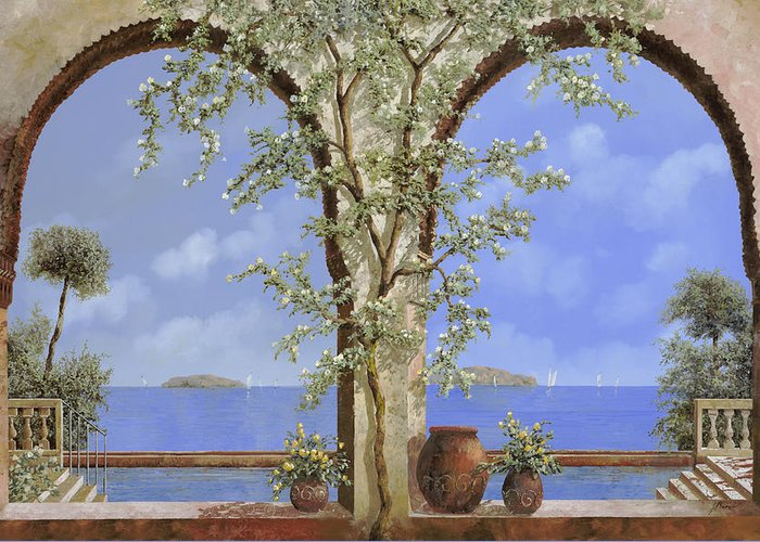 White Flowers Greeting Card featuring the painting Fiori Bianchi Sulla Parete by Guido Borelli