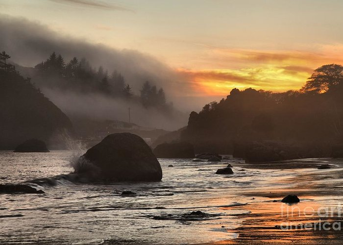 Trinidad State Beach Greeting Card featuring the photograph Fire And Fog At Trinidad by Adam Jewell