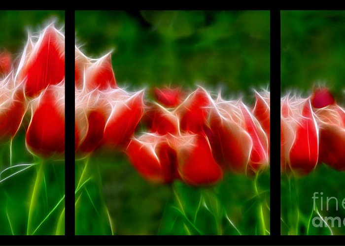 Fire And Ice Greeting Card featuring the digital art Fire And Ice Fractal Triptych by Peter Piatt