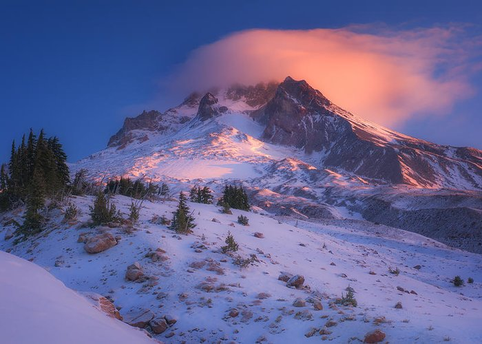Mount Hood Greeting Card featuring the photograph Fire Cap by Darren White