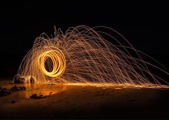 Photo Art Greeting Card featuring the photograph Fire Circle by Tin Lung Chao