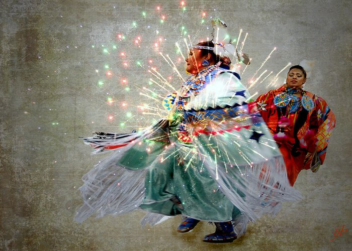 Fireworks Greeting Card featuring the photograph fire Dance by Irma BACKELANT GALLERIES