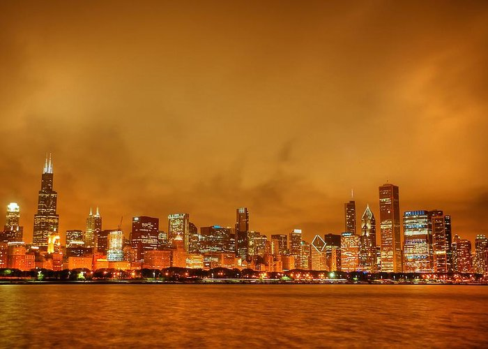Chicago Skyline From Navy Pier Greeting Card featuring the photograph Fire In A Chicago Night Sky by Ken Smith