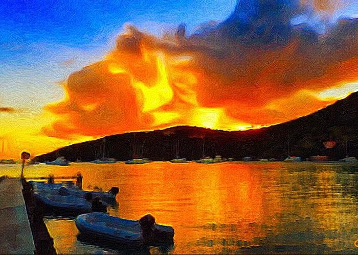 Seascape Greeting Card featuring the painting Fire In The Sky by Jennifer Simpson