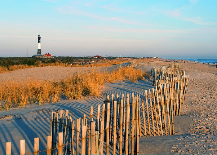 Shadow Greeting Card featuring the photograph Fire Island Lighthouse, Long Island, Ny by Rudi Von Briel