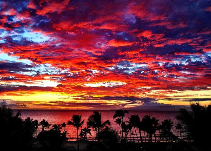 Maui Greeting Card featuring the photograph Fire Sky by Julianne Baltrus