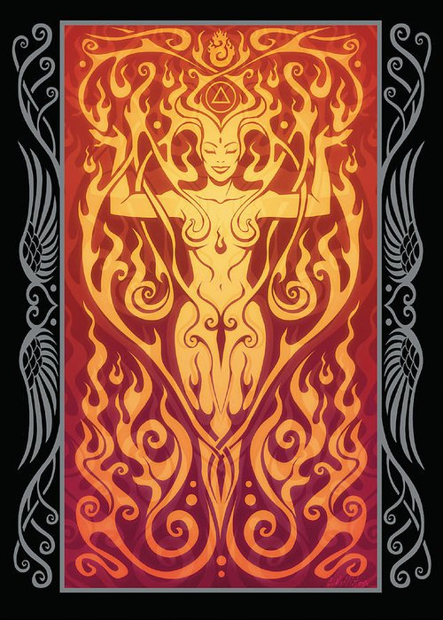 Goddess Greeting Card featuring the digital art Fire Spirit V.2 by Cristina McAllister