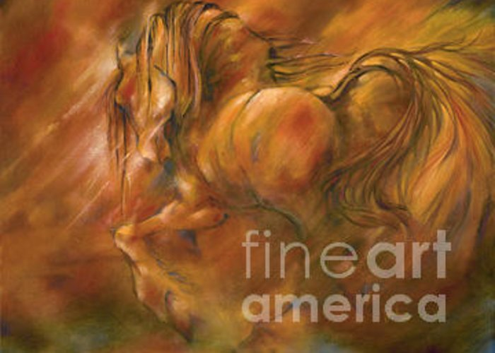 Horse Greeting Card featuring the painting Fire by Wendy Froshay