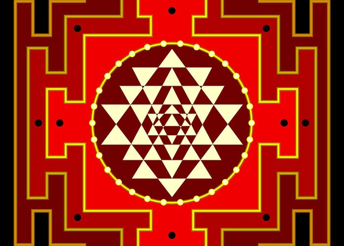 Mandala Greeting Card featuring the digital art Fire Yantra by Clare Goodwin