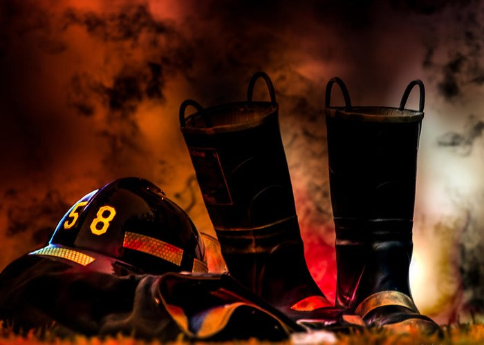 Courage Greeting Card featuring the photograph Firefighter by Bob Orsillo