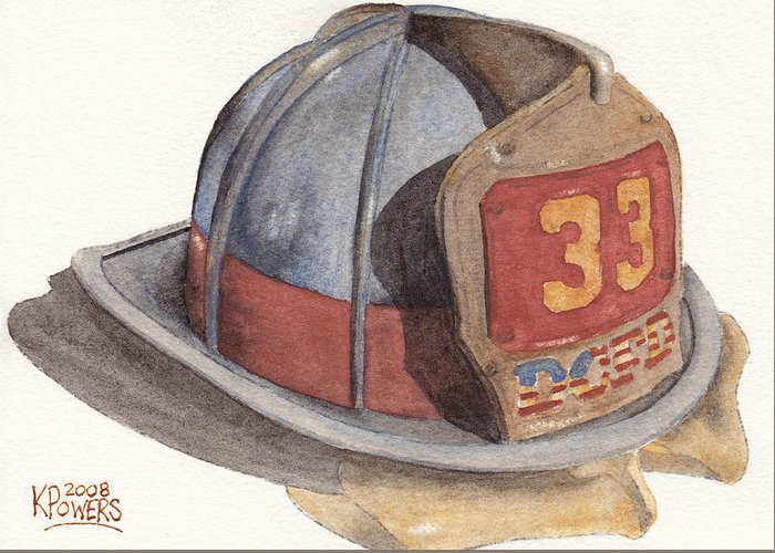 Fire Greeting Card featuring the painting Firefighter Helmet With Melted Visor by Ken Powers