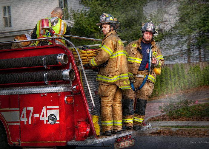 Savad Greeting Card featuring the photograph Firefighting - Only You Can Prevent Fires by Mike Savad
