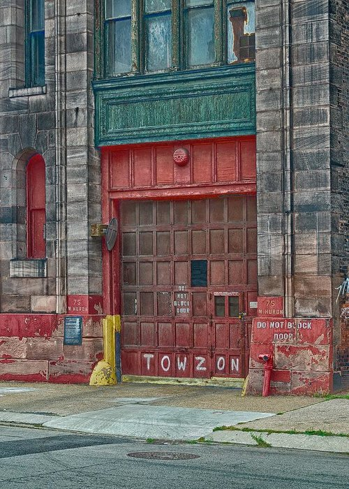 Fire House Greeting Card featuring the photograph Firehouse Door by Terry DeHart