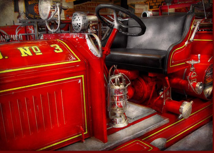 Savad Greeting Card featuring the photograph Fireman - Fire Engine No 3 by Mike Savad