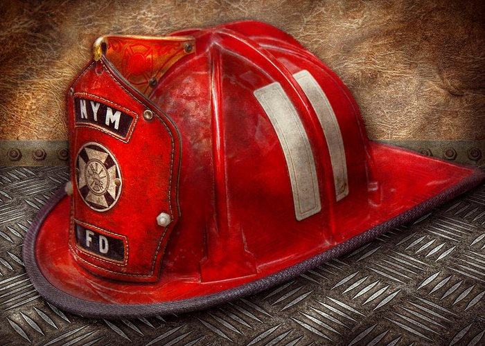 Fireman Greeting Card featuring the photograph Fireman - Hat - A Childhood Dream by Mike Savad