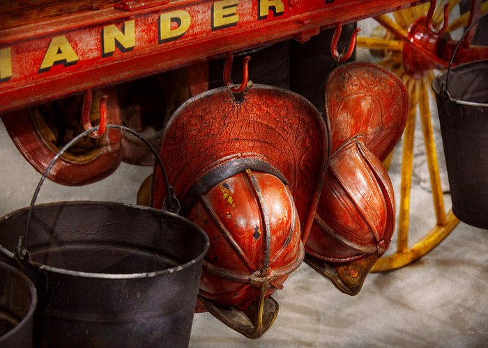 Savad Greeting Card featuring the photograph Fireman - Hats - I Volunteered For This by Mike Savad