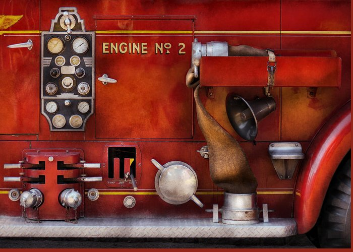 Suburbanscenes Greeting Card featuring the photograph Fireman - Old Fashioned Controls by Mike Savad