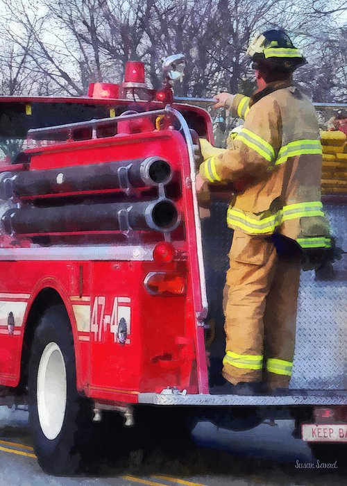 Firefighter Greeting Card featuring the photograph Fireman On Back Of Fire Truck by Susan Savad